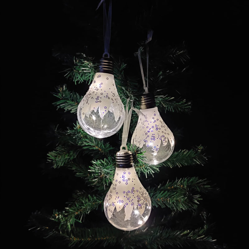 Bulb Shape Christmas Tree Ornament With LED Lights (Pack of 6)