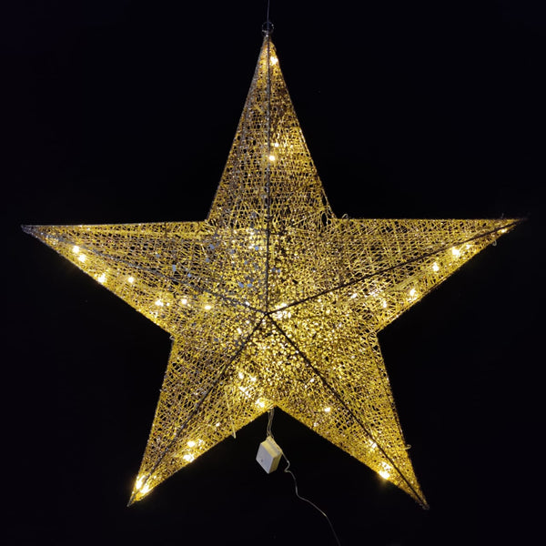 Christmas Mesh Metal Star 120 cm with Lighting  (Color: Gold and Silver)