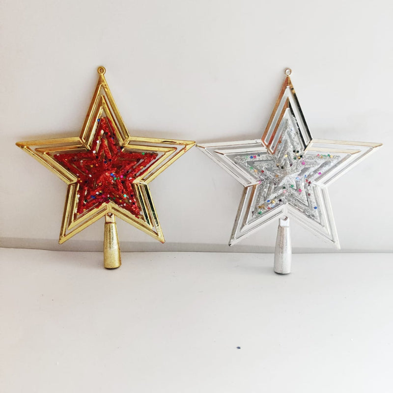 Metal Star Tree Topper (Silver, Gold)