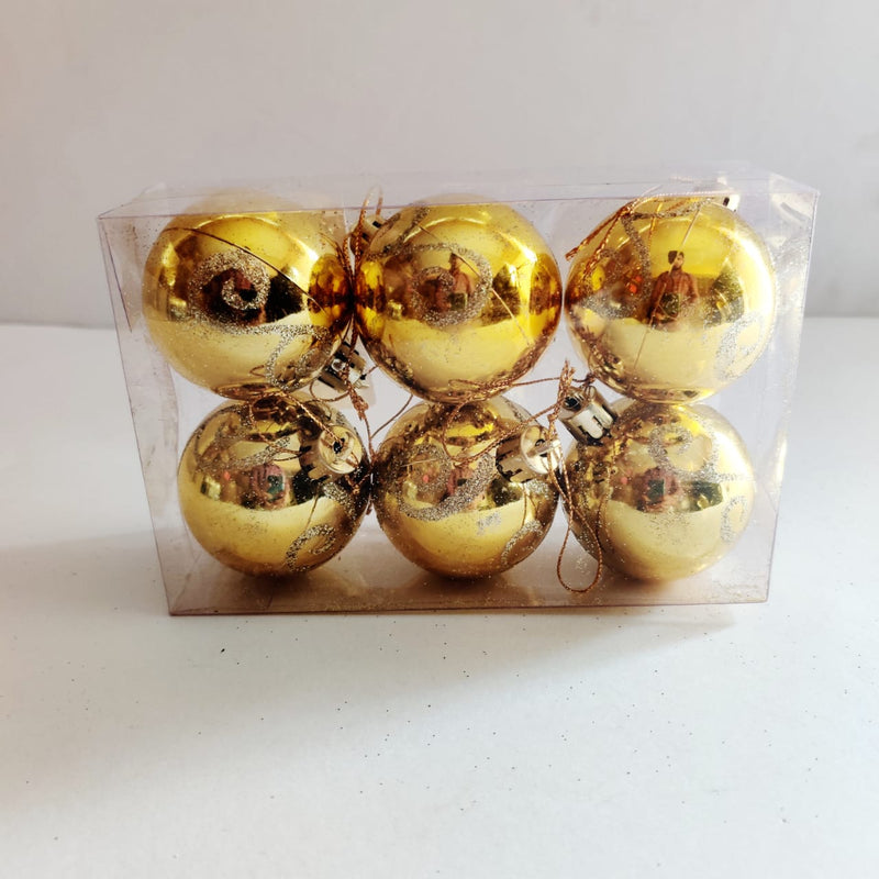 Christmas Balls Ornaments Pack of 6 (Blue, Silver and Gold)