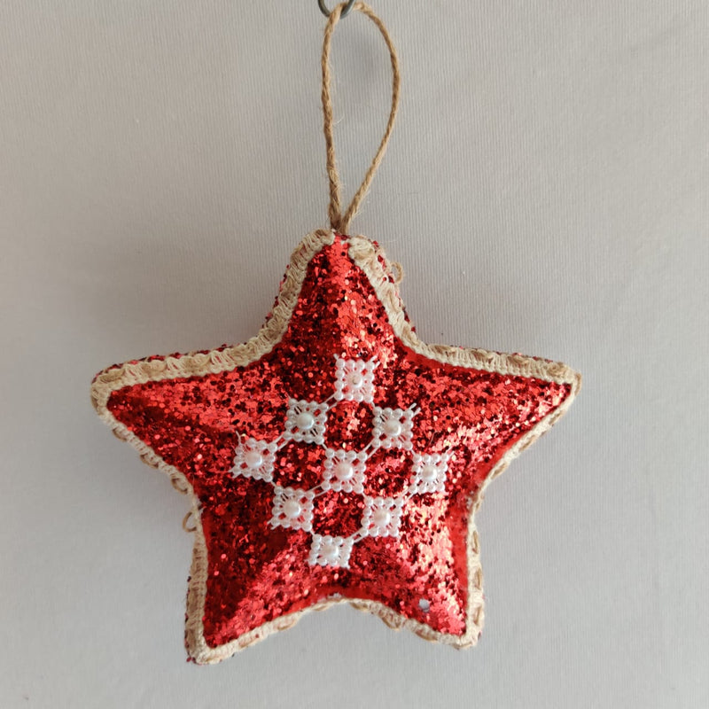 Glittery Star Tree Decoration (Available in Red and Gold)
