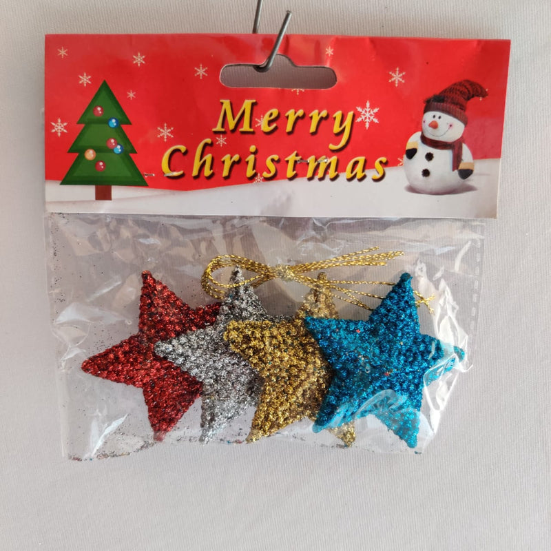 Glittery Christmas Star Tree Ornament Pack of 4 (Red, Gold, Silver, Blue)