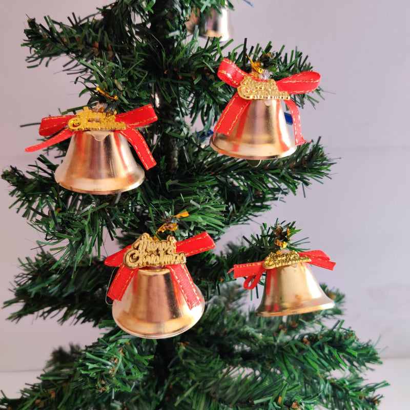 Christmas Single Bells for Tree Decoration Pack of 6 (Red, Gold, Silver)