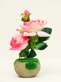 Artificial Flower Pot with Grass and Stone Base (Pink and White)