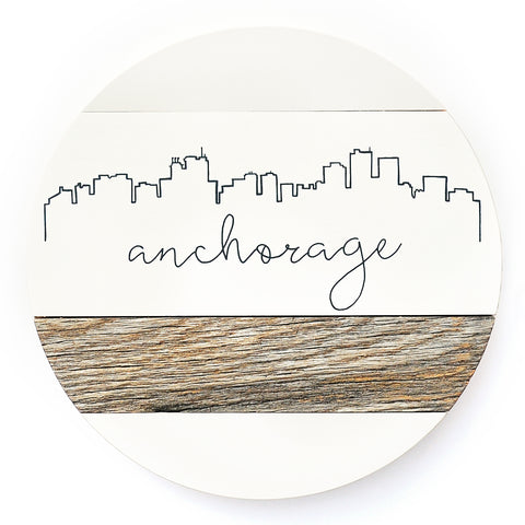 Anchorage Skyline :: Round Wood Sign