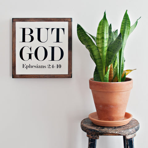 But God Wood Sign 12x12