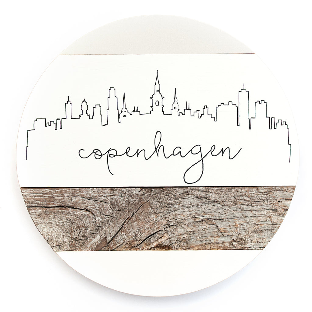 Copenhagen City Skyline :: Round Wood Sign