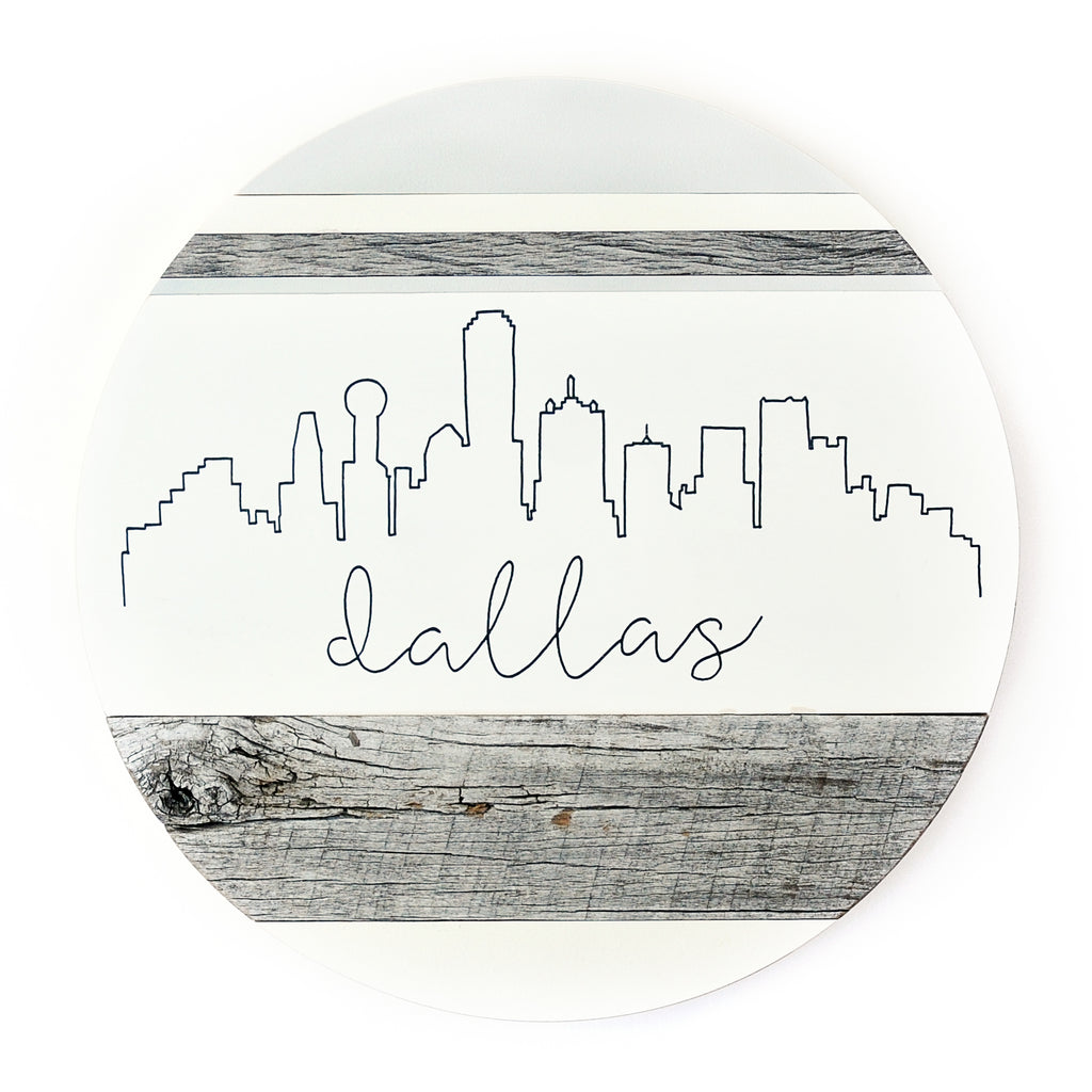 Dallas Skyline :: Round Wood Sign