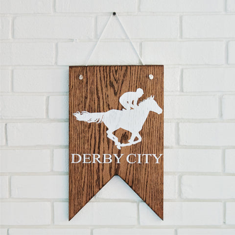 Derby City Wood Pennant 9x15