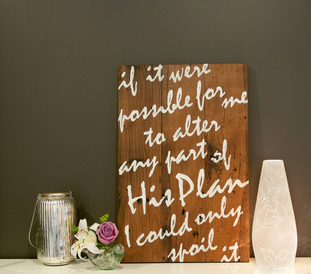 His Plan 17x26 Wood Sign