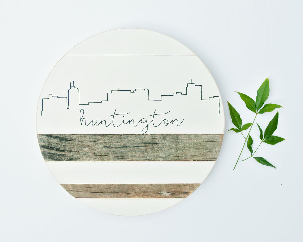 Huntington Skyline :: Round Wood Sign