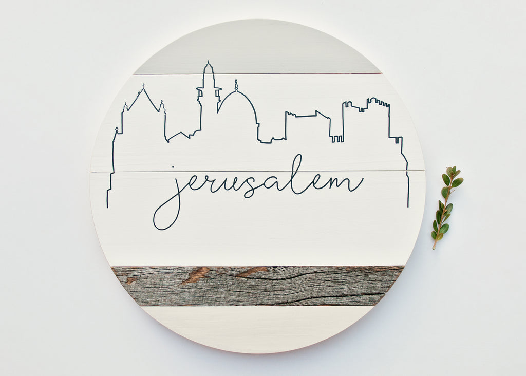 Jerusalem City Skyline :: Round Wood Sign