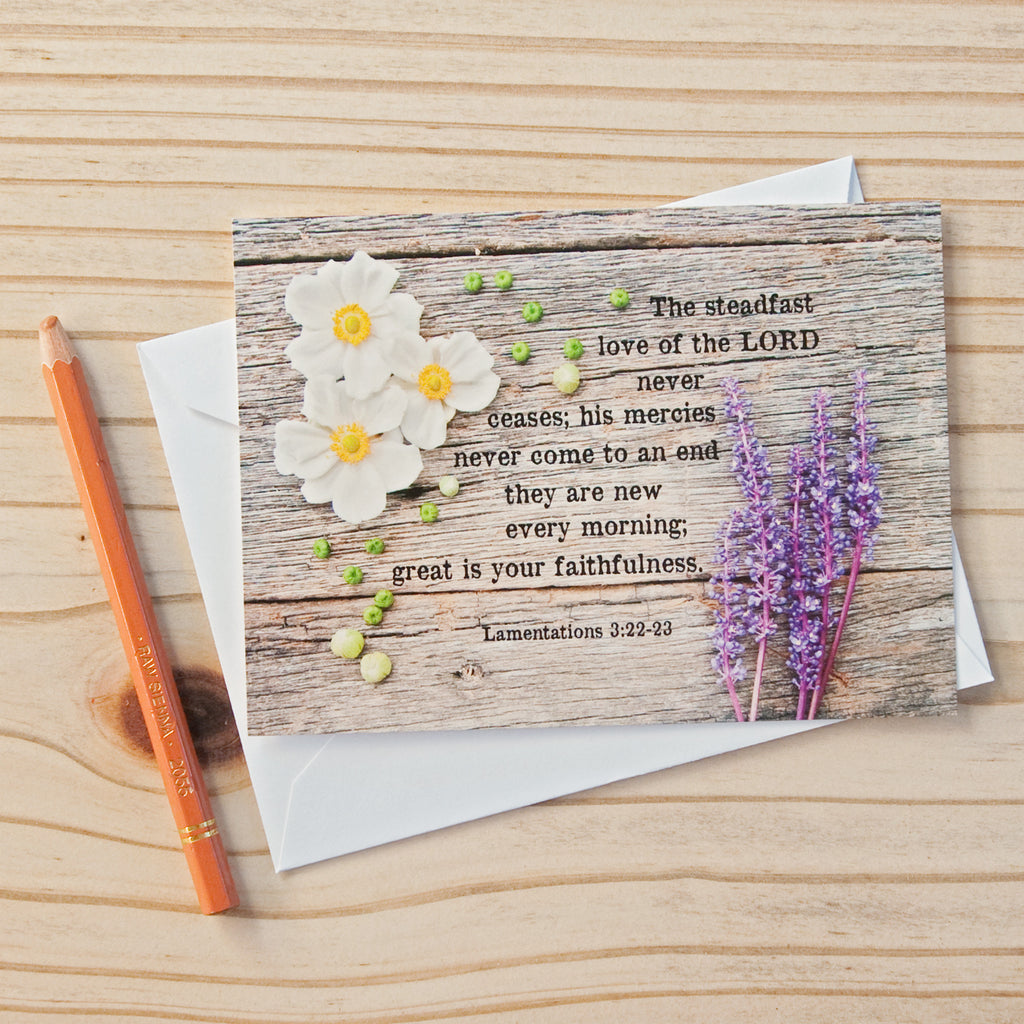 Flat Note Cards (Set of 8)- Lamentations 3:22-23