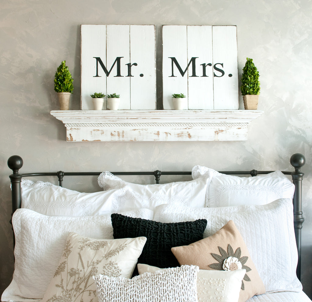 Mr. and Mrs. Set of Two 18x20 Wood Signs