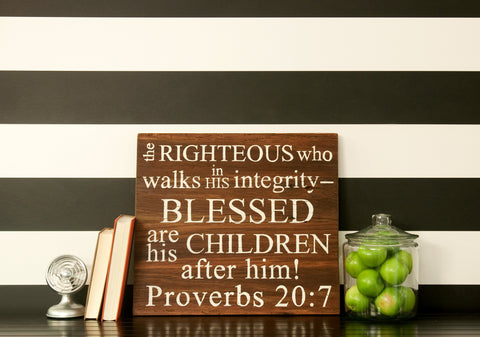 The Righteous 20x18 Wood Sign