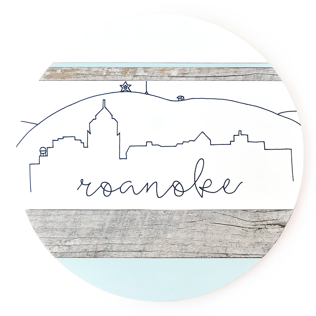Roanoke Skyline :: Round Wood Sign