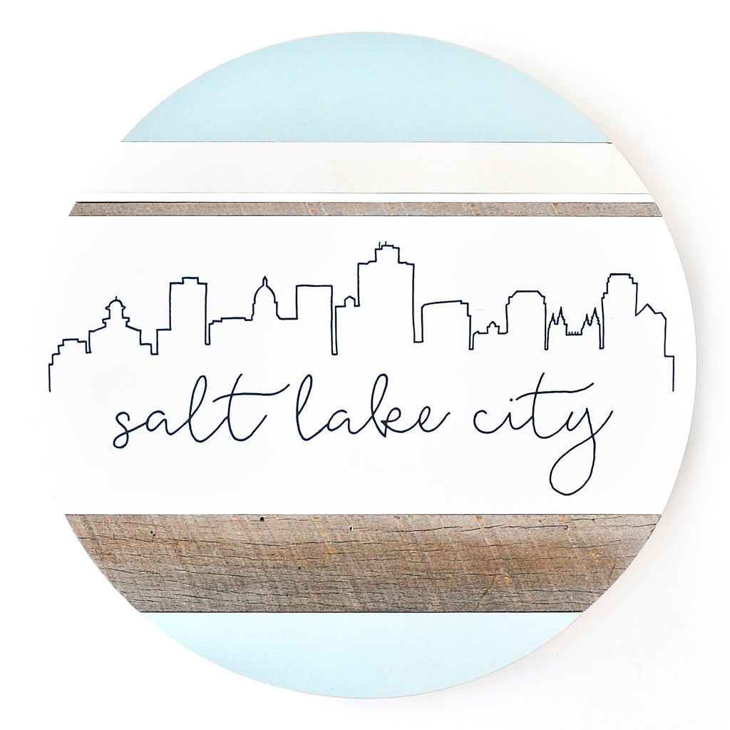 Salt Lake City Skyline :: Round Wood Sign