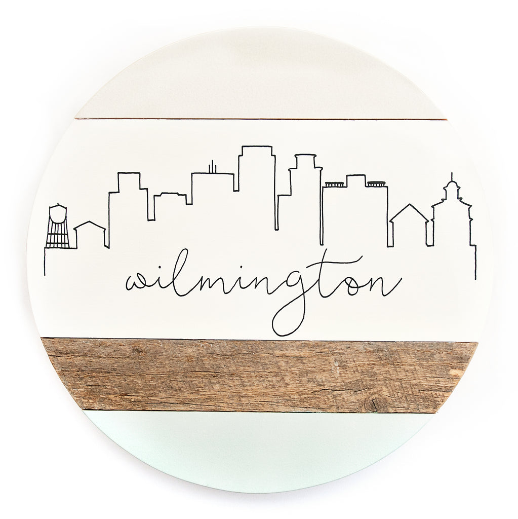 Wilmington City Skyline :: Round Wood Sign
