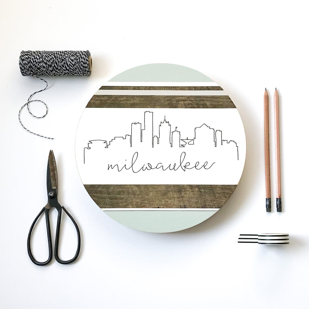 Milwaukee City Skyline :: Round Wood Sign