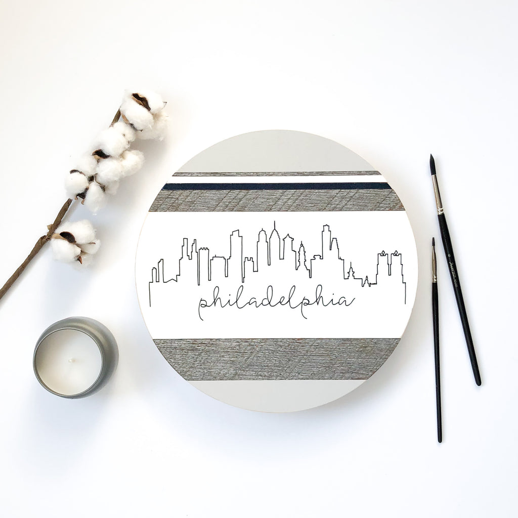 Philadelphia City Skyline :: Round Wood Sign
