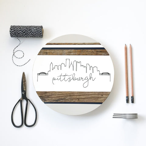 Pittsburgh City Skyline :: Round Wood Sign