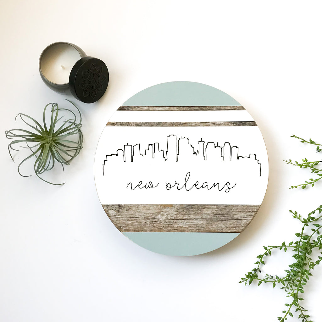 New Orleans Skyline :: Round Wood Sign