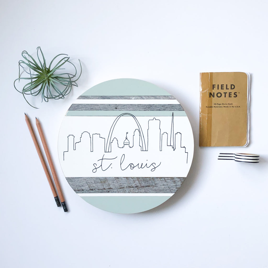 St. Louis Skyline :: Round Wood Sign