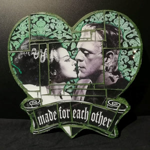 "Wall Mosaic Frankenstein Hearth ""Made for Each Other"""