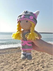 Viking pink Wool Doll