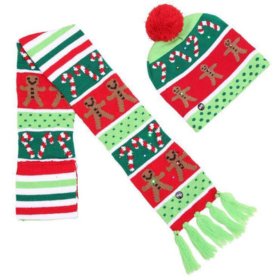 {45% Off Today!}Christmas LED Beanies Pretty Little Wish.com Set 4 - Green & Red