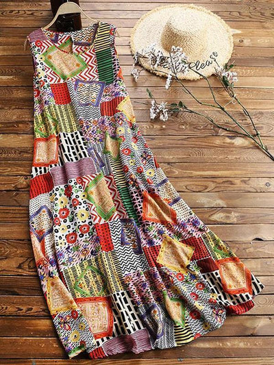 Bohemian Printed Sleeveless Large Swing Long Dress - Pretty Little Wish.com