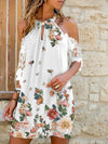 2021 New floral print off shoulder dresses