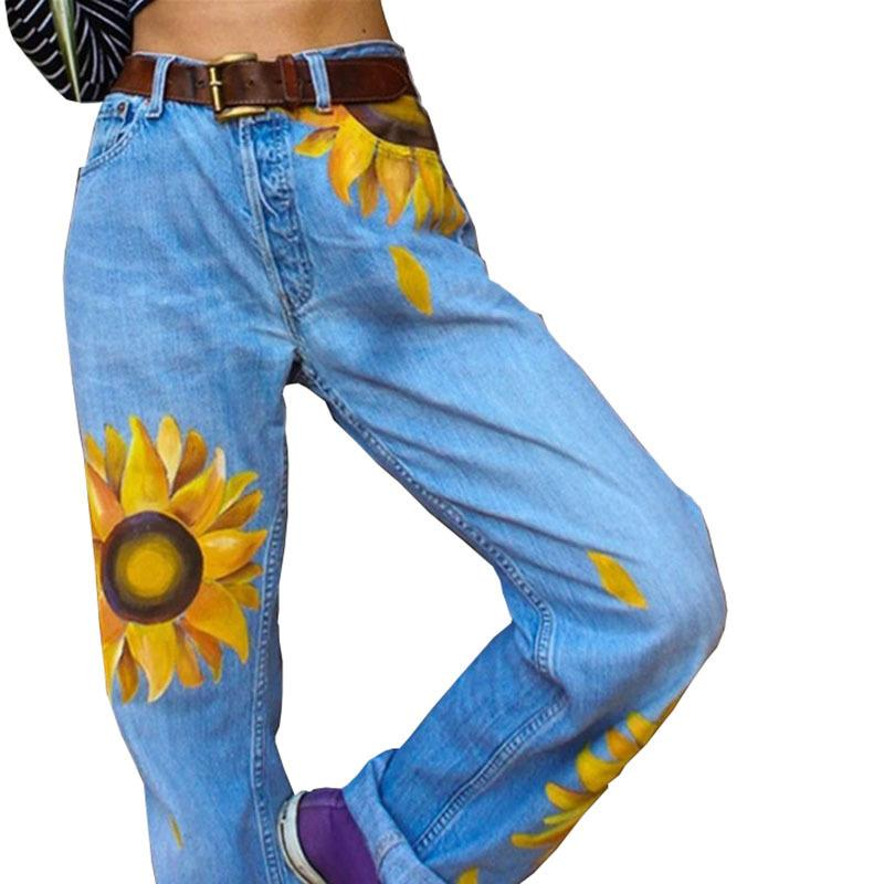 Fashionable printed sunflower Jeans - Pretty Little Wish.com