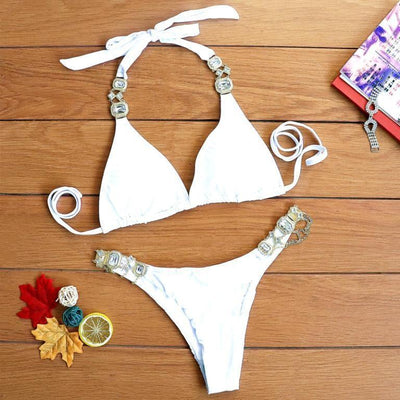 Halter crystal bikini 2020 new Triangle sexy swimsuit - Your Summer Outfit - Pretty Little Wish.com