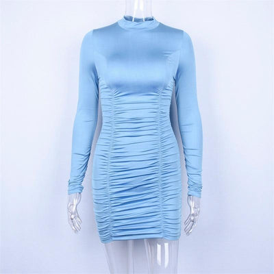 Hugcitar satin long sleeve high neck high waist bodycon sexy mini dress 2019 autumn winter women fashion party elegant clothes Women Fashion Pretty Little Wish.com