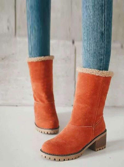 Suede Mid Chunky Heels Mid-Tube Boots - Pretty Little Wish.com