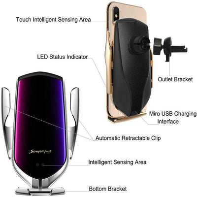 Wireless Automatic Sensor Car Phone Holder And Charger - Pretty Little Wish.com