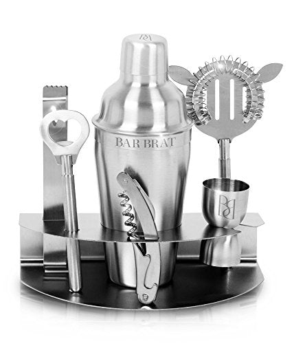 Premium 7 Piece Cocktail Making Set & Bar Shaker Kit by Bar Brat ™
