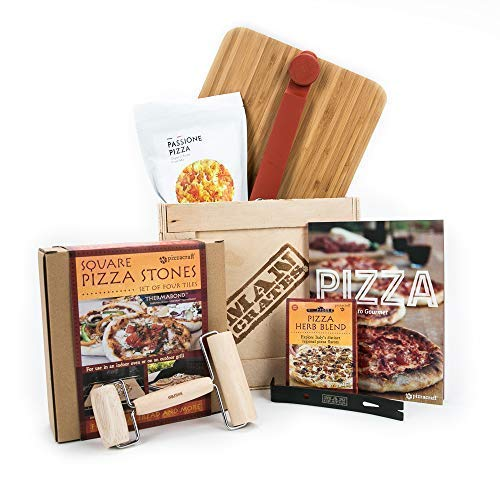 Man Crates Pizza Grilling Crate – Pizza Stones, Pizza Peel, Spices, Flour, Pizza Roller and More – Ships in A Sealed Wooden Crate with A Laser-Etched Crowbar