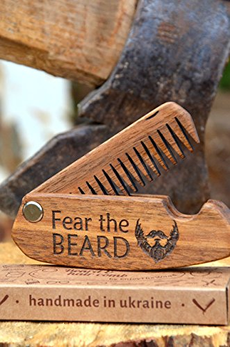 Wooden Beard Comb Wood Folding with oil-wax