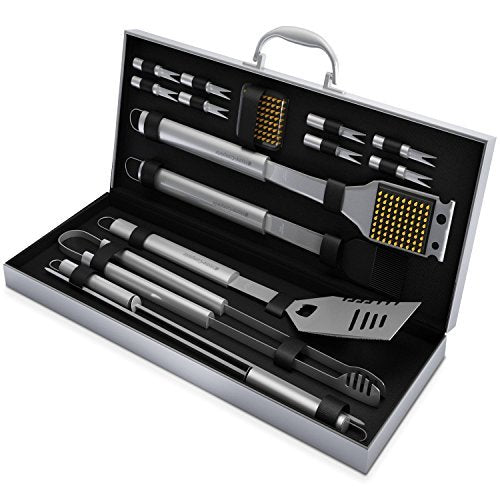 Complete BBQ Grill Tool Set- 16 Piece Stainless Steel Barbecue Grilling Accessories with Aluminum Case