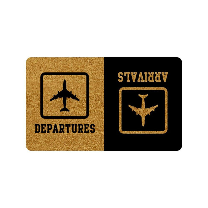 DEPARTURES ARRIVALS Indoor/Outdoor Doormat, Non-Slip, Machine-Washable Home Decor Mat