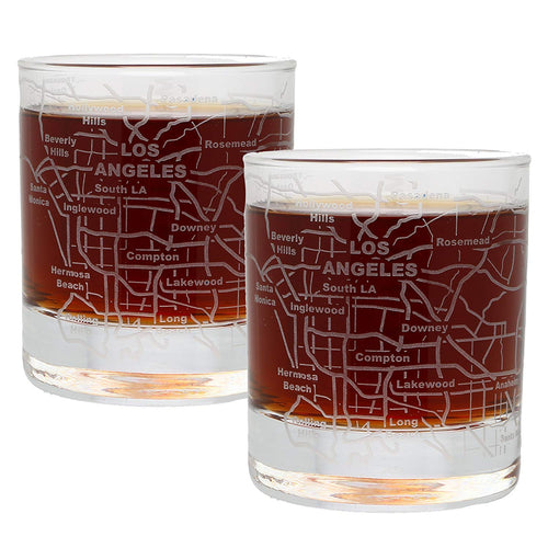 Greenline Goods Whiskey Glasses - Select Your City, Etched with City Map, Set of 2