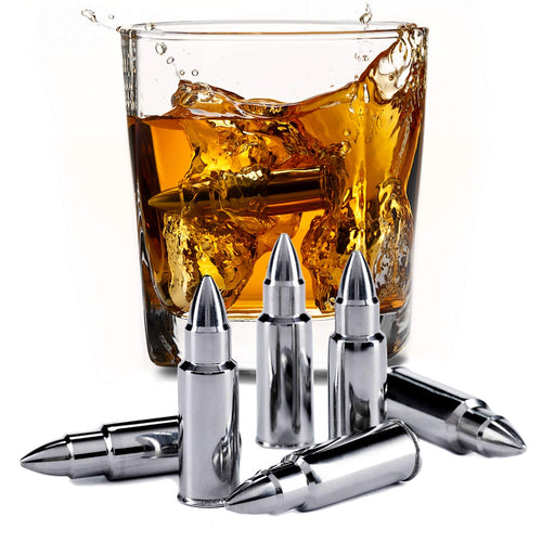 Stainless Steel Bullet Shaped Whiskey Stones Set of 6 - Chilling Rocks - Gift Idea for Whiskey Lovers