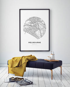 Melbourne Circle Map Print - Salt&Printer