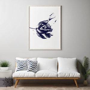 Indigo Flower Digital Wall Print - Salt&Printer