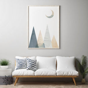 Geometric Mountains and Moon Digital Wall Print - Salt&Printer