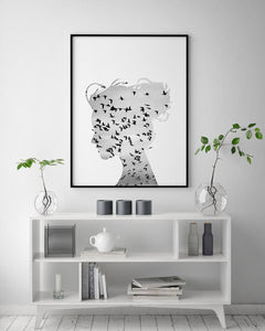 Flock of Birds - Girl Silhouette Portrait Digital Wall Print - Salt&Printer
