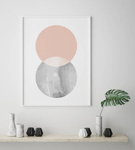 Pink and Grey Circles Scandinavian Digital Wall Print - Salt&Printer