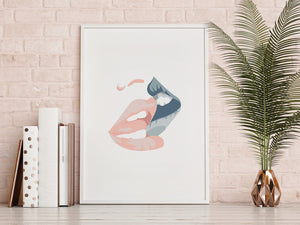 Kissing Vector Wall Print - Salt&Printer